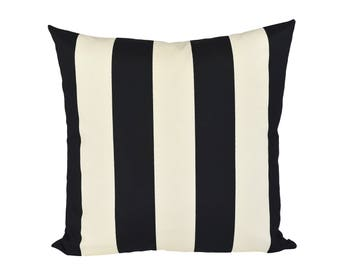 READY TO SHIP - 20x20 Cabana Stripe Black & Ivory pillow cover - Indoor/Outdoor