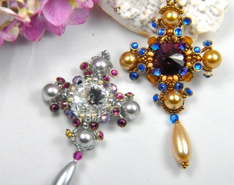 """Beadweaving kit (all beads and printed photo tutorial) """"Southern Cross"""" medallion pendant"""