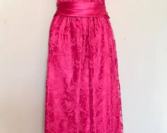 70's Hot Pink Lace Gown           LV0099