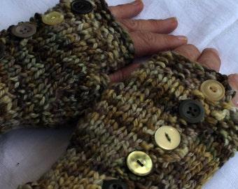 Handspun handknit dyed fingerless mittens