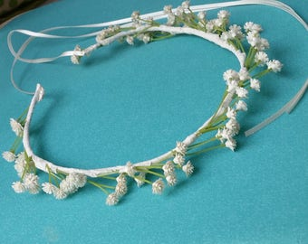 Ivory First Communion Flower crown artificial Babys Breath cream Floral Wedding hair accessories Bridal little girl lace hair wreath halo