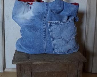 Jeans bag, denim bag, canvas bag, denim tote, shopping bag, handbag, shoulder bag, crossbody  bag, levis denim, upcycled jeans,