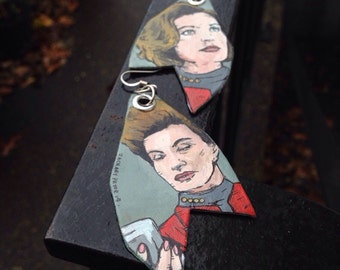 Captain Janeway Star Trek Earrings - Ma'am is acceptable in a crunch, but I prefer Captain - hand-painted earrings
