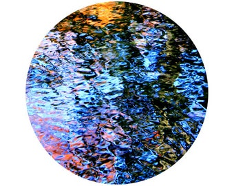 Abstract Water Photography, Reflection, Blue, Red, Orange, Black, Colorful, Circle, Round Image - 5x5 inch Print - And The Sky Fell