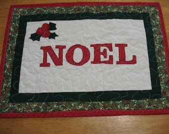 Quilted Appliqued Christmas Noel Table Runner