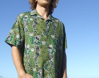 Mens Short Sleeve Shirt- Button Up- 100% Cotton- Aboriginal Artwork Print- Dancing Spirit- Green