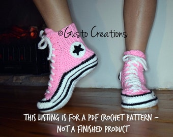 Adult Converse Slippers Crochet PDF pattern, High Top Sneaker Slippers Crochet PDF pattern, Crochet Slipper Pattern Adult