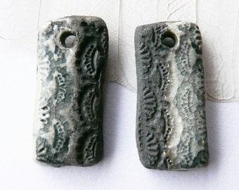 Lace blue and black Raku pendants duo, unique, handcrafted ceramic