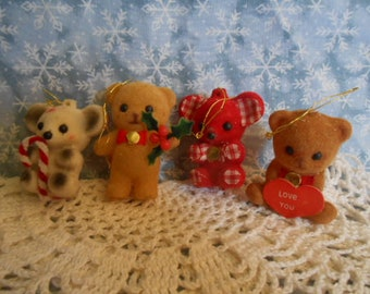 Vintage Flocked Ornaments - Bears and A Mouse - 2.25""