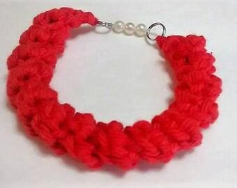 Red Crochet Bracelet
