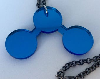 mirrored acrylic water molecule necklace // blue