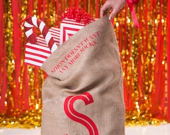 Secret Message Sack - Big Letter Christmas Sack - Hidden Message Hessian Sack - Christmas Sack Kids - Big Letter - Personalised Message Sack