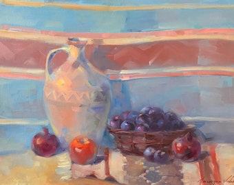 Still life with Jug, oil on canvas, original painting, handmade artwork,