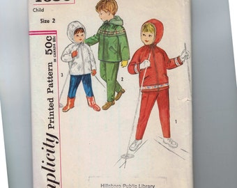 1960s Vintage Sewing Pattern Simplicity 4636 Girls Boys Hooded Jacket and Snow Pants Size 2 Breast 21 60s