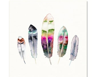 Feather Artwork. Colorful Feather Art Print. Watercolor Nature Painting. Hippie Wall Art. Boho Feather Decor. Multi Colored Feathers Art.