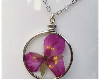 Tale Necklace — pressed wildflower pink fuchsia double-sided glass silver nature summer nashville  minimalist neutral