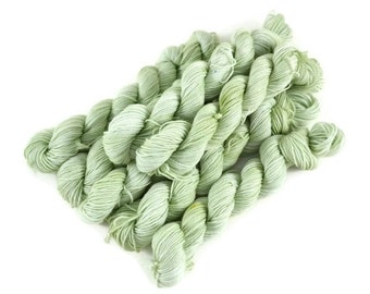 Mini Skeins, Hand Dyed Yarn, Sock Weight, Superwash Merino Wool Yarn, Fingering Weight, Sock Yarn Mini, Merino nylon yarn, green - Pistachio
