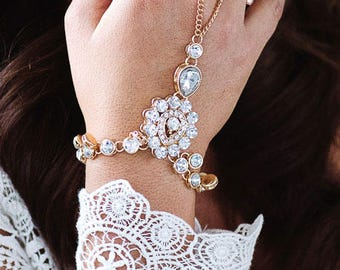 Sonia Gold Hand Chain Bridal Hand Jewelry Gold Hand Bracelet Boho Slave Bracelet Bohemian Ring Bracelet Rhinestone Bracelet Gold Jewelry