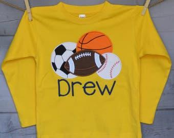Personalized Sport Balls Football Basketball Baseball Soccer Monogram Applique Shirt or Bodysuit Boy or Girl