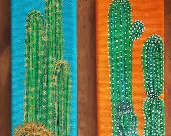 Original Acrylic Paintings Canvas Pair Southwest by Artist Desert Spines