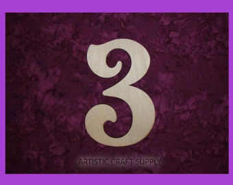 """number 3 unfinished wood numbers 6"""" inch tall"""