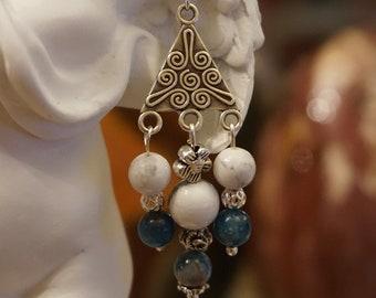 Natural Apatite and genuine Magnesite earrings