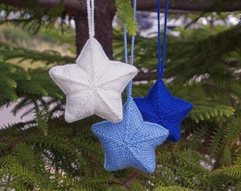 Star ornament Christmas decor Christmas star decoration Hanging ornament Xmas tree decoration Stuffed star nursery decor Window decoration