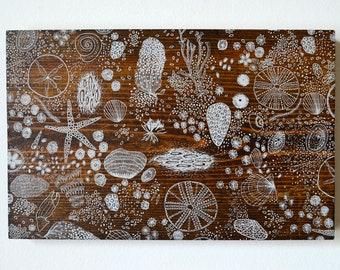Reclaimed Repurposed Wood-Upcycled hand screen printed wall art-ready to hang-screenprinted sea life