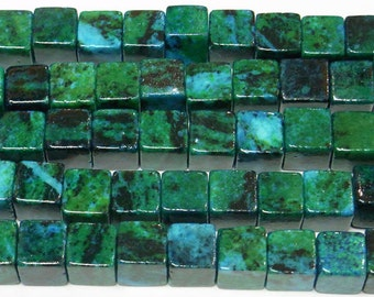 10mm Cube Green Phenix Stone Beads Genuine Natural  6335 15''L Semiprecious Gemstone Bead Wholesale Beads Supply