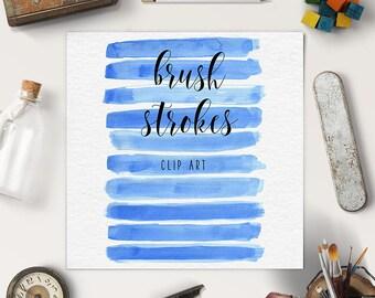WATERCOLOR LOGOS | Brush Stroke Clipart | Blue Splotches Overlay | Logo Design, Blog Elements | Coupon Code: BUY5FOR8