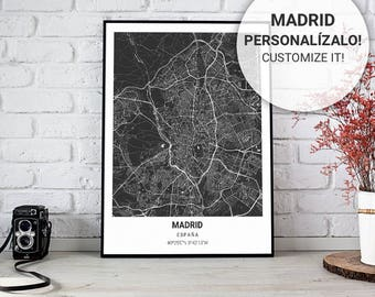 Black map Poster of Madrid (Spain) 30, 40 and 50. Custom text. Ideal sheet for decoration or as a gift.