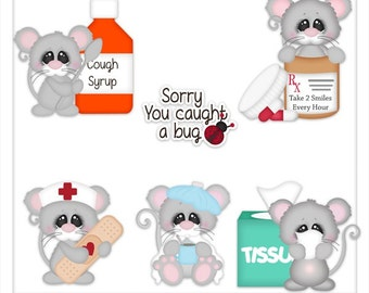 DIGITAL SCRAPBOOKING CLIPART - Get Well Wishes Mice