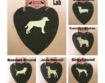 Dog breed Slate heart, labrador, bassett, frenchie, dachshund, Boston slate heart, handstamped dogs, Father's Day, wall hanging