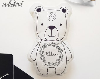 Personalised Bear Plush Rattle or Pillow, baby rattle, plush toy, bear pillow, rustic wreath, keepsake, baby shower gift.