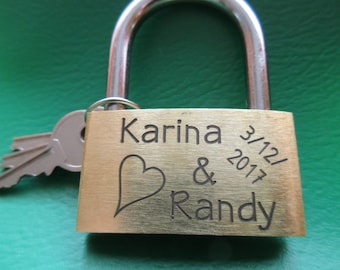 engraved  Padlock ( Love-Lock, Brass ) with Key and pouch,personalized, engraving, personalized couple, Wedding application