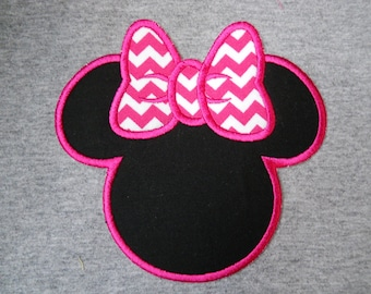 Made to order ~ Pink Chevron  Miss Mouse iron on or sew on applique patch