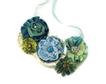 Blue Green Floral bib statement necklace, flower necklace
