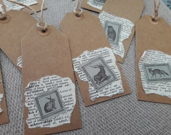 12 Handmade woodland style gift tags. Junk journal tags. Scrapbooking tags. Gift tags