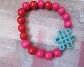 Aqua Celtic Knot Beaded Bracelet with Red and Pink Round Beads