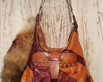 Handmade 1970's Leather Patchwork Boho Bag
