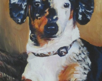 Dachshund portrait CANVAS print of LA Shepard painting 8x10 dog art