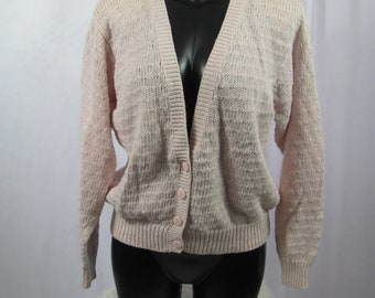 Vintage 80s / 90s Womens Light Pink Knit Cardigan Sweater