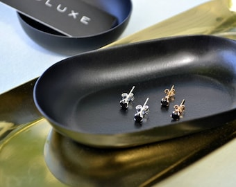 Small Black Spinel Studs | Dainty Stud Earrings | Little Black Gemstone Earrings