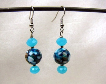 Mother of Pearl Bead Drop Earrings ~ Ocean Blue ~ Cut Aqua Crystals ~ Pierced ~ Dangle ~ Hancrafted