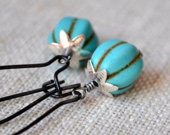 Turquoise Pumpkin Earrings, Blue Beads, Black Kidney Earwires, Silver, Glass, Thanksgiving Autumn Halloween Jewelry