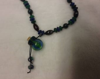 Unique Glass Beaded Aromatherapy Necklace With Glass Bottle