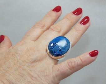 Natural Azurite Malachite 925 Sterling Silver Ring