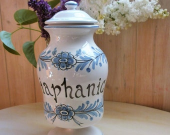 Antique french Apothecary jar in earthenware of Nevers signed MONTAGNON. / / vintage apothecary jar of Nevers faience signed Montagnon.