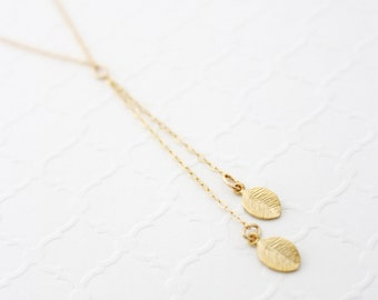 Gold Y Necklace, Birthday Gift for Mom from Daughter, Gift for Her, Gold Filled Leaf Necklace, Gift for Girlfriend, Two Best Friend Necklace