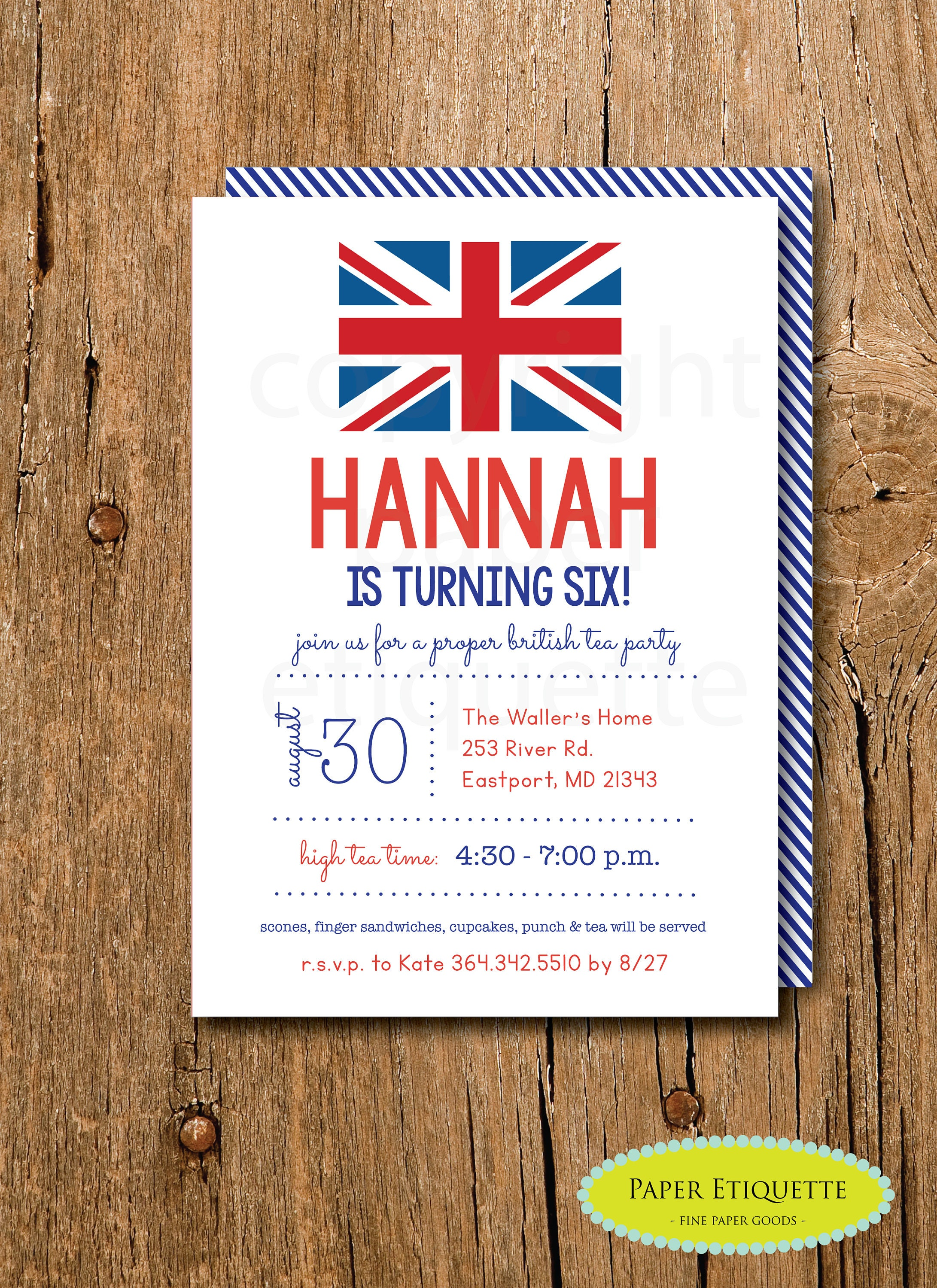 Union Jack Party Invitations British London Birthday Tea